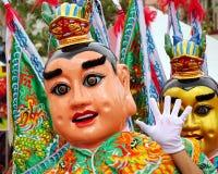 一个寺庙狂欢节的两位被掩没的舞蹈家在台湾 免版税库存图片
