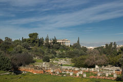 一个寺庙的看法在雅典 库存照片