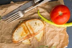 一个小三明治用乳酪、蕃茄和绿色新鲜的胡椒 免版税库存图片