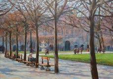 一个小公园在巴黎的中心 森林横向油画河 免版税库存图片