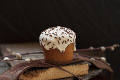 一个小复活节蛋糕和一根杨柳枝杈在黑暗的木背景 库存图片