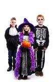 一个小女孩和两个男孩穿戴了万圣夜服装:巫婆,骨骼,吸血鬼 库存图片