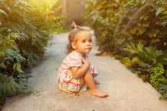 一个小女孩在一件时兴的礼服漫步穿戴了在后院或在一个温暖的夏天晴朗的下午的公园 图库摄影