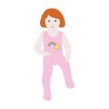 一个小女孩在履带牵引装置走 免版税库存照片