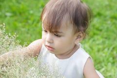 一个小女孩坐在一件俏丽的礼服的绿草 免版税图库摄影