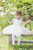 一个小女孩坐在一件俏丽的礼服的绿草 免版税库存照片