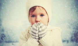 一个小女孩的儿童面孔本质上在冬天 免版税库存图片