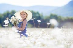 一个小女孩的夏天画象戴西的领域的 免版税库存图片