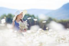 一个小女孩的夏天画象戴西的领域的 免版税库存照片