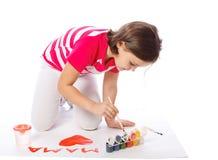 一个小女孩的画象画 图库摄影