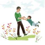一个小孩子和乐趣爸爸 免版税库存照片