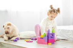 一个小孩子在屋子里演奏在块的塑料玩具 的treadled 库存照片