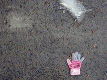 一个小孩子的失去的手套 保护的孩子的概念和他们的社会适应的重要性 图库摄影