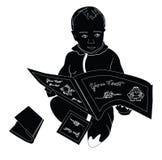 一个小孩子读儿童` s书 库存图片