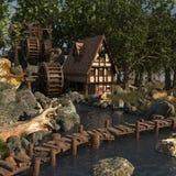 一个小屋的动画片风景有水车的 库存照片