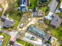 一个小建筑公司` s露营地的鸟瞰图res的 免版税库存照片