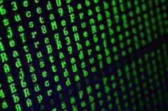 一个小故障的宏观射击在办公计算机的显示器的 介绍病毒的概念入一位个人数据老板 Strea 免版税库存图片