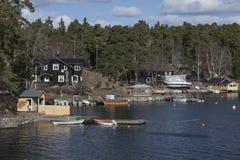 一个小村庄,斯德哥尔摩群岛 免版税图库摄影