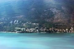 一个小欧洲城市的全景在黑山 免版税图库摄影