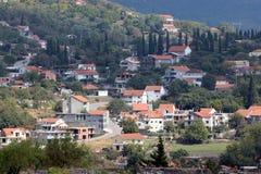 一个小欧洲城市的全景在黑山 图库摄影