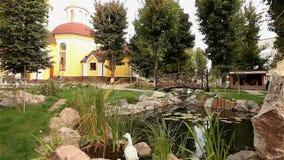 一个小池塘在公园,装饰池塘,在池塘的装饰桥梁,荷花在水中,在背景 股票录像