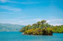 一个小海岛在湖 免版税库存图片