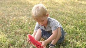 一个小男孩在公园吃西瓜在夏天 影视素材