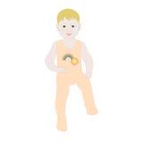 一个小男孩在履带牵引装置走 免版税库存照片