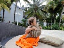 一个小男孩在毛里求斯 免版税库存照片