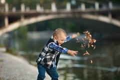 一个小男孩是夸大和投掷秋叶在w期间 免版税库存照片