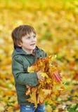 一个小男孩的纵向有秋天公园的 库存图片