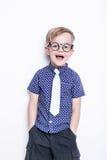 一个小男孩的画象一条滑稽的玻璃和领带的 学校 幼稚园 方式 演播室画象被隔绝在白色背景 免版税图库摄影