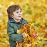 一个小男孩的画象有秋叶的在公园 免版税库存照片