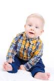 一个小男孩的画象白色背景的 库存图片