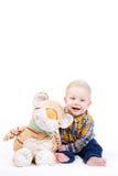 一个小男孩的画象白色背景的 免版税库存照片