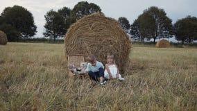 一个小男孩跑到在领域坐在大包秸杆下的女孩 白色礼服微笑的男孩赛跑的愉快的女孩 股票录像