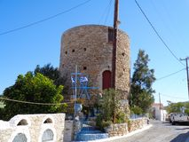 一个小的塔在希腊 免版税库存照片