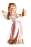 一个小的天使的图与灯笼的在手,圣诞节得体上 免版税库存照片
