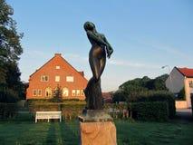 一个小的镇在瑞典 雕象 免版税图库摄影