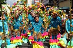 一个小组女性狂欢节舞蹈家以各种各样的服装沿路跳舞 免版税库存照片