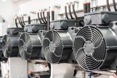一个小组强有力的电动机 工业设备电驱动  免版税图库摄影