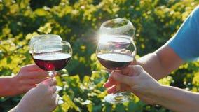 一个小组朋友使与红酒的玻璃叮当响在葡萄园的背景 酒游览和旅游业概念 免版税库存照片