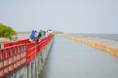 一个小组游人有走在长的红色木材木板走道是沿着江边的旅游胜地在沿海线附近 库存照片