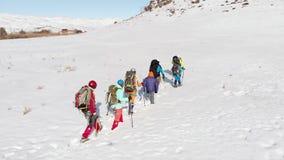 一个小组登山人垂悬特别弹药克服说谎在人们是的巨大的小山前面的深随风飘飞的雪 影视素材