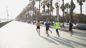 一个小组运动员在海滩附近的标记奔跑 影视素材