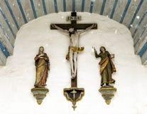 一个小老教会的前面的特写镜头在Gruyeres,瑞士 库存图片