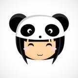 一个小逗人喜爱的女孩的面孔服装熊猫的 免版税库存图片