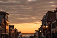 一个小镇的场面在新年` s天 库存照片