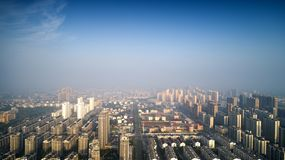 一个小镇的早晨视图东南安徽省的,中国 免版税库存图片