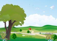 与树的风景 免版税库存图片